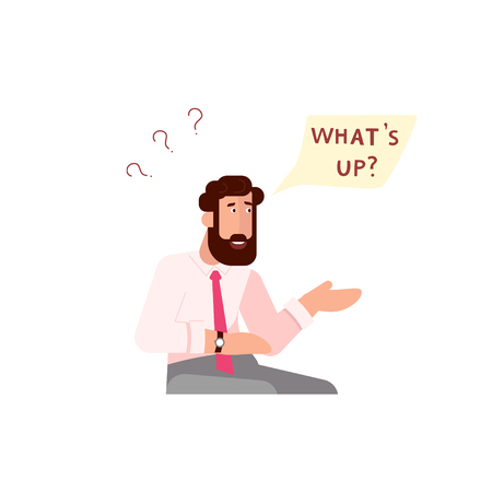 Businessman character face emotion. Portrait with Surprise expressions and speech bubble Whats up? above. Flat Art Vector illustration Illustration
