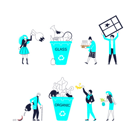 Small people Characters throw garbage in container set. Environmental protection, ecology, earth day in blue and outline design. Flat Art Vector illustration