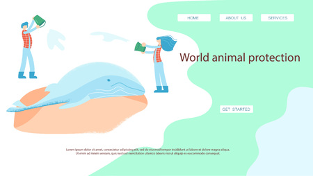 World rare animal protection landing page website template. Rescuers volunteers feed and treat sea lions. Flat Art Vector illustration