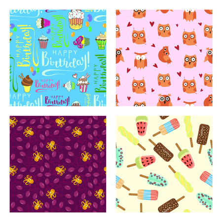 Set of happy birthday seamless pattern with Balloon, cake, octopus, ice-cream and owl. Design for children's textiles, toys, packaging, poster. Flat Art Vector illustration