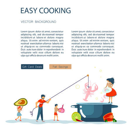 Easy cooking landing page website template. Father mother with their kids preparing dinner together. Happy Family tradition for cooking masterclass or recipe book. Flat Art Vector illustration