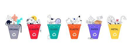 Mülltrennung Sammlung und Recycling auf weißem Hintergrund. Setzen Sie die Symbole des Papierkorbs in Mülltonnen mit sortiertem Müll. Flache Umriss-Kunst-Vektorillustration Vektorgrafik