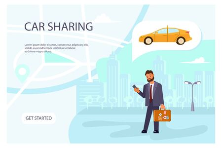 Carsharing page website template. Young man rent a car by smartphone on city map background banner. Flat Art Vector illustration