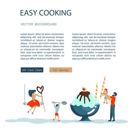 Easy cooking landing page website template. Father mother with their kids preparing ice cream together. Happy Family tradition for cooking masterclass or recipe book. Flat Art Vector illustration