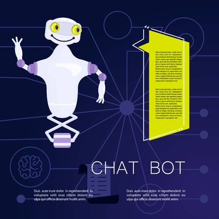 Concept of ui with chatbot on hotline service. Robot Virtual Assistance Element Of Website Or Mobile Applications, Artificial Intelligence. Flat Art Vector illustration