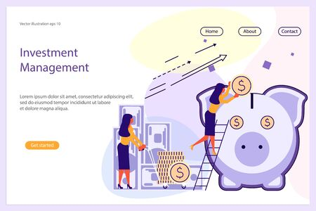 Investment Management Website template for design uiux and mobile website development, business presentation. Business strategy, analytics and brainstorming landing page. Flat Art Vector illustration