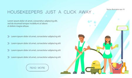 Cleaning service design for landing page website template.  Housekeepers just a click away web design. Flat Art Vector illustration Ilustração