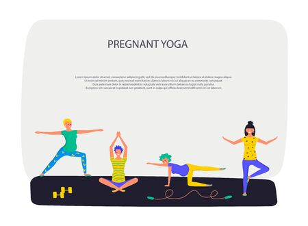 Prenatal yoga training square banner template. Pregnant women in sportive clothing cartoon characters. Flat Art Vector illustration Ilustração