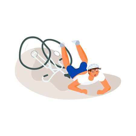 Cyclist fell down from cycle isolated on white background.  People riding bicycles. Flat Art Vector illustration