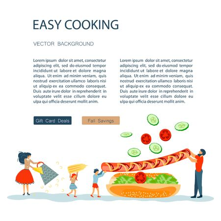 Easy cooking landing page website template. Father mother with their kids preparing Hot Dog together. Happy Family tradition for cooking masterclass or recipe book. Flat Art Vector illustration Ilustração