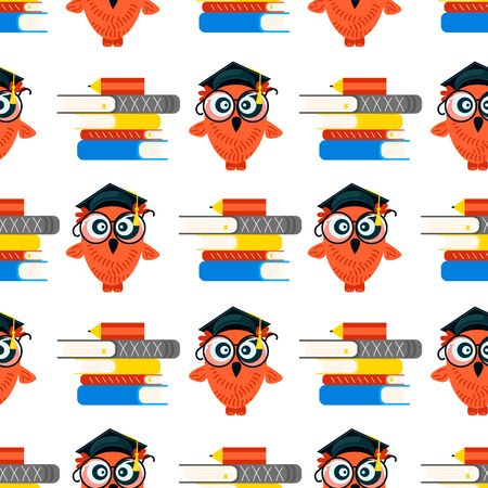 Seamless school pattern made of Owls with graduation caps on white background. Flat Art Vector illustration Ilustração