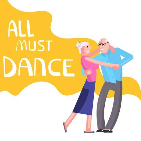 Banner happy elderly people dancing. All must dance dancing-party or studio poster. Flat Art Vector illustration