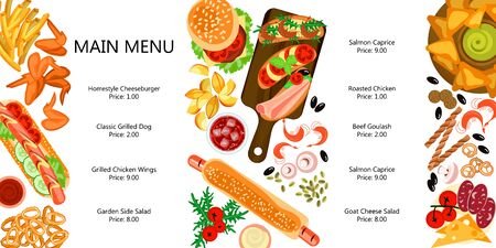 Beautiful fast food set. Cute menu with different snacks, french potato, chicken wings, Hot Dog. Flat Art Vector illustration