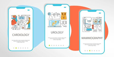 Set of Medicine onboarding screens user interface kit. Mobile app templates concept. Modern UX, UI screen for mobile or responsive website. Flat Art Vector illustration