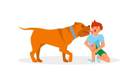 Dog licked on the boy cheek suffering from injured knee pain after an accident. Flat Art Vector illustration