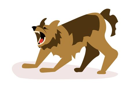 Aggressive dangerous dog attack. Big pooch infected by rabies isolated on white background. Flat Art Vector illustration Ilustração