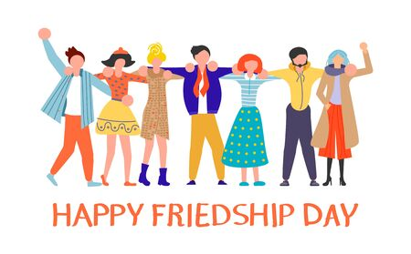 Friendship Day greeting card. Happy friends group of people hugging together. Flat Art Vector illustration Ilustração