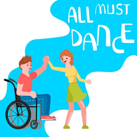 Banner happy disabled people dancing. All must dance dancing-party or studio poster. Flat Art Vector illustration Ilustração