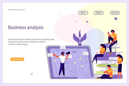 Business Analisys Website template for design ui ux and mobile website development, business presentation. Strategy, analytics and brainstorming landing page. Flat Art Vector illustration