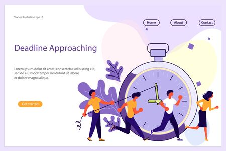 Deadline Approaching Website template for design ui ux and mobile website development, business presentation. Business strategy, analytics and brainstorming landing page. Flat Art Vector illustration Ilustração