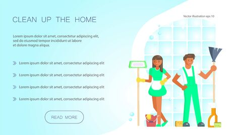 Cleaning service design for landing page website template. Keep your home clean web design. Flat Art Vector illustration Ilustração