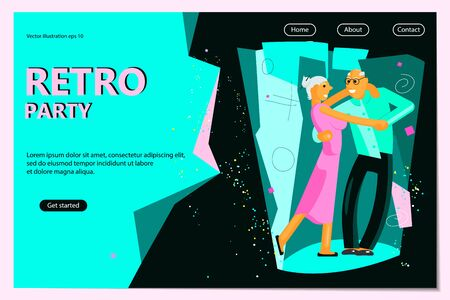 Retro Party Poster Template. Pair of active seniors dressed in retro fashion dancing. Flat Art Vector illustration