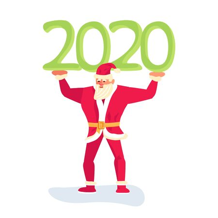 Young athletic Santa Claus keeps over 2020. Christmas is everywhere. Flat Art Vector illustration