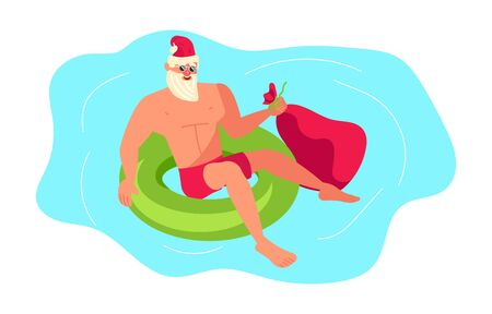Young athletic Santa Claus brings gifts to children all over the world concept. Christmas at the tropical sea resort.  Flat Art Vector illustration