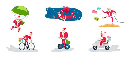 Set of Young athletic Santa Claus brings gifts to children all over the world concept. Christmas is everywhere.  Flat Art Vector illustration