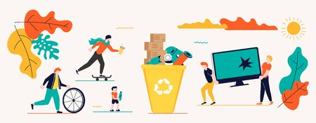 Horizontal banners template for garbage recycling. Zero waste concept poster. People sorting waste rubbish and containers images. Flat Art Vector illustration Ilustração