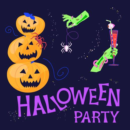 Halloween party Poster Template. Zombie hands holds a glass of blood, poisonous spider and invites you to a entertainment. Flat Art Vector illustration