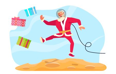 Young athletic Santa Claus brings gifts to children all over the world concept. Christmas on the moon, at the space.  Flat Art Vector illustration Illustration