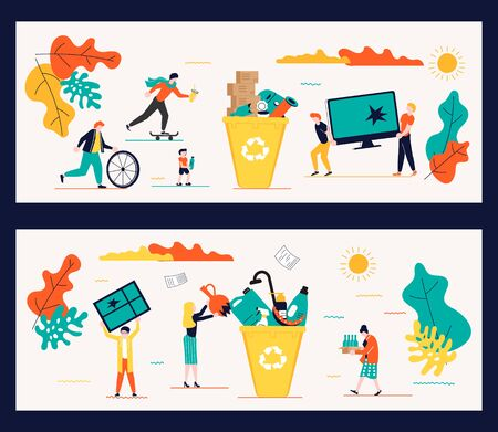 Set of Horizontal banners template for garbage recycling. Zero waste concept poster. People sorting waste rubbish and containers images. Flat Art Vector illustration Ilustração