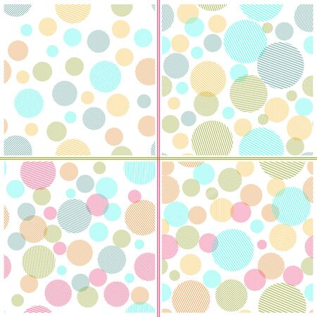Set of Abstract seamless pattern with colorful circles shapes. Ilustração
