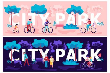 Day and Night City park horizontal banner template. People enjoying in public garden. Summer Outdoors activities. Flat Art Vector illustration