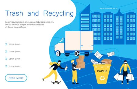 Trash and recycling landing page website template. People volunteers pick up the garbage for Clean Environment. Flat Art Vector illustration