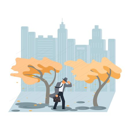 Autumn stormy weather. The wind rips the hat off man head. Flat Art Vector illustration