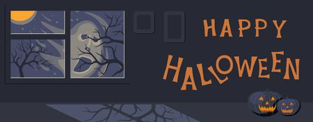 Happy halloween banner template. Shadow of a blurry face of ghost behind the window and moonlit night. Flat Art Vector illustration Stock Illustratie