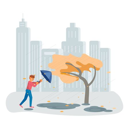Autumn stormy weather. The wind tears the umbrella out of the boys hands. Flat Art Vector illustration