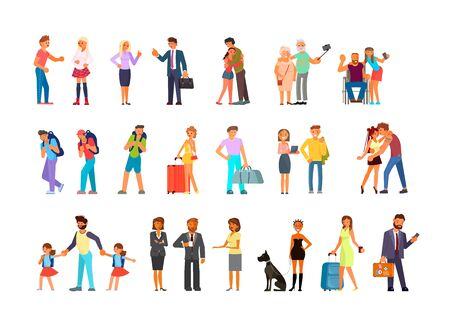 Big set of adult people in various lifestyles. Men and women characters rejoice, talk, sort things out,  using their gadgets. Flat Art Vector illustration