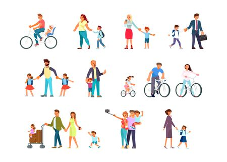 Big set of parents with kids in various lifestyles. Happy family characters walk, ride bicycles, go to school. Flat Art Vector illustration