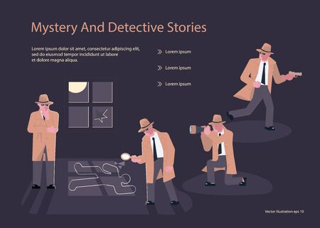 Landing page templates for Detective blog or agency. Private Investigators or Police Detectives characters at Work Investigating and Solving Crimes.  Flat Art Vector illustration Stok Fotoğraf - 131901165