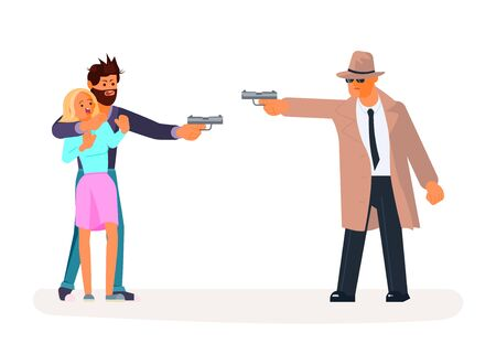 Private investigator takes aim with handgun at a criminal man taking girl hostage.  Flat Art Vector illustration
