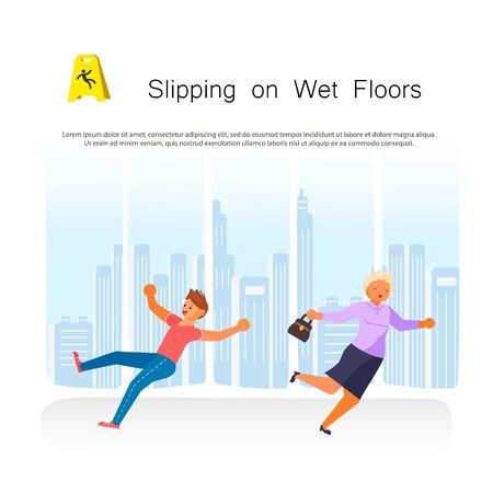 Accidente de resbalón y caída de personas de oficina para el cobro del seguro. Ilustración de Vector de arte plano Ilustración de vector