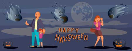 Happy halloween banner template. Horrified people flee from a ghost. Flat Art Vector illustration Vector Illustratie