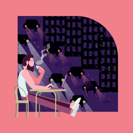 Man sitting in a coffee shop with a laptop in the late evening. Flat Art Vector illustration Ilustração