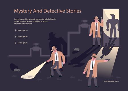 Landingpage-Vorlagen für Detektiv-Blog oder -Agentur. Charaktere von Privatdetektiven oder Polizeidetektiven bei der Untersuchung und Aufklärung von Verbrechen. Flache Kunst-Vektorillustration