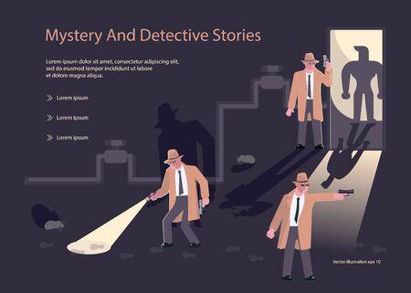 Modelli di landing page per il blog o l'agenzia di detective. Investigatori privati o detective della polizia personaggi al lavoro che indagano e risolvono i crimini. Illustrazione vettoriale di arte piatta