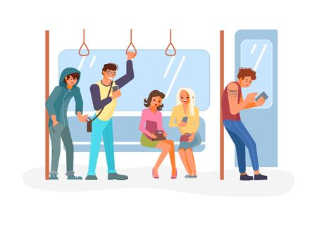 Diverse passengers using their mobile devices in Public transport. Pickpocket takes a wallet from a pocket of a scattered man. Flat Art Vector illustration Illusztráció