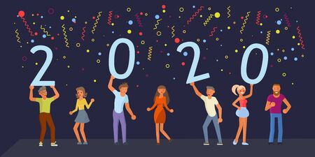 Banner template with People hold 2020 plate and dancing in flat design. Young happy men and women team move to the music and preparing to meet the new year. Flat Art Vector illustration Illustration
